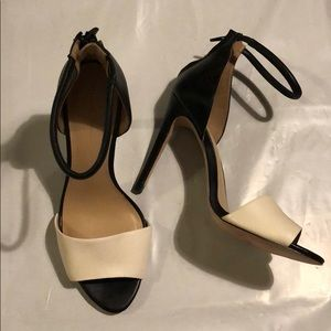 Zara White and Black Colorblock Heels